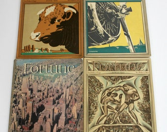 Lot 4 Vintage Fortune Magazines 1930s New York Map, Carpenter