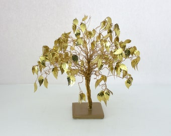 Vintage Gold Leaf Dream Tree, Mid Century Golden Leaves, Copper Branches