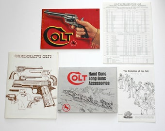 Vintage Lot Colt Advertising Pamphlets, Posters, Catalogs 1960s Vintage Guns