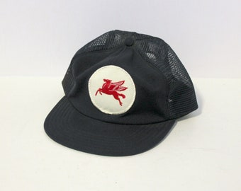 Vintage Mobil Gas Mesh Trucker Cap Hat, Adjustable Snap Back with White Red Pegasus Patch