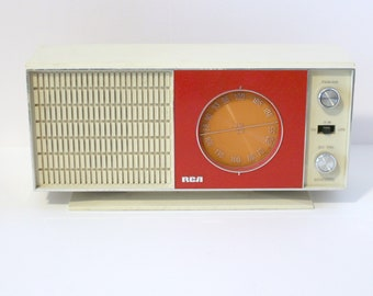 Vintage RCA AM/FM Radio Model Rzc 230R 1960s Red White Orange, Works