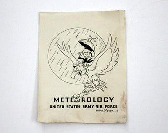 Vintage WWII 1940s Walt Disney US Army Air Force Flyer Poster Meteorology