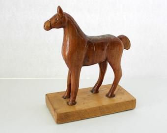 Vintage Folk Art Horse Hand Carved Apricot Wood, Primitive Figure, Signed