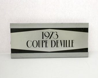 1973 Coupe DeVille Cadillac Vintage Dealer Showroom License Plate Deco