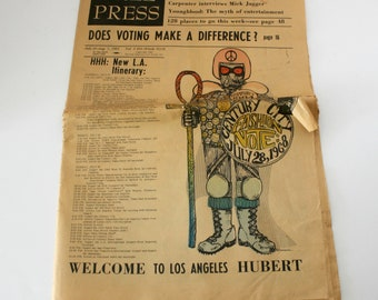 Los Angeles Free Press July 26 - Aug 1 1968 Vintage Underground Newspaper, Hippie