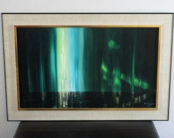 Vintage Northern Lights Oil Painting Original by Rudy Neubert 1967, Canadian Art