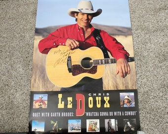 Vintage Chris LeDoux Signed Poster, 1992 Whatcha Gonna Do With A Cowboy, Liberty Records Advertising Promo