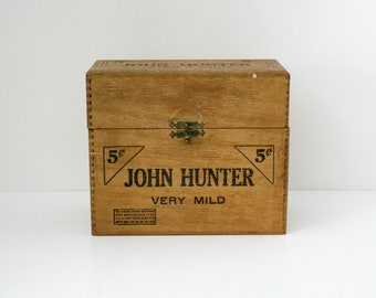 Rare John Hunter Cigar Box, Vintage Wood Dovetail Wooden Tobacciana