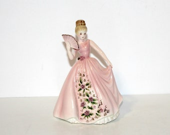 Vintage Joseph Originals Figurine Lady Pink Dress with Roses Fan