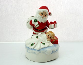 1960s Lefton Santa Music Box with Sleeping Girl Child, Vintage Musical Figurine