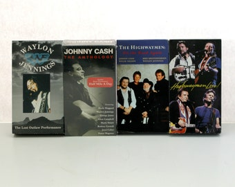 Vintage Lot 4 Outlaw Country Music VHS Tapes, Johnny Cash Anthology Sealed, Waylon Jennings, Willie Nelson, Kris Kristofferson, The Highwaymen