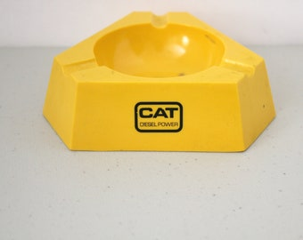 Cat Diesel Power Ashtray, Vintage Caterpillar Equipment Yellow Melamine Ware Advertising 1960s Tobacciana