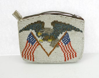 Vintage Native American Beaded Coin Purse Pouch Eagle USA Flags Beads