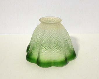 1920s Green Frosted Quilted Glass Shade, Vintage Light Lamp Shade