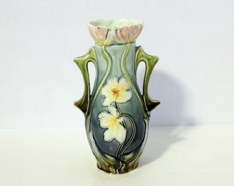 Antique Art Nouveau 1900s Majolica Vase, Handled Floral Austria, Blue Green