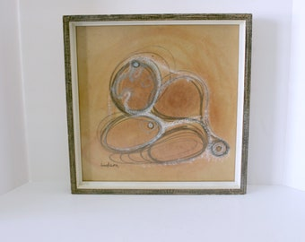 Original Robert Hudson Painting Signed Mixed Media Abstract Browns Ovals Vintage 60s 70s
