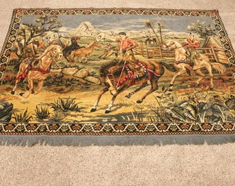 """Vintage Cowboy Western Tapestry Wall Hanging, Rodeo Round Up Scenic 74.5 x 53"""""""