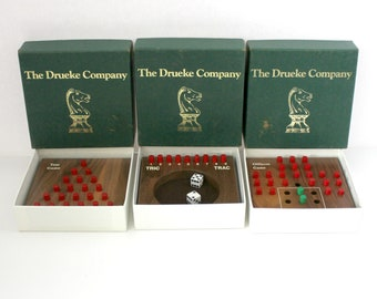 Drueke Lot of 3 Mini Games Puzzles, Wood Peg, Wooden Travel Office, Officer's, Tric Trac, Tree