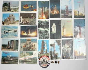 Lot Vintage Apollo Space NASA Astronaut Missile Rocket Postcards Buttons Pins 1970s