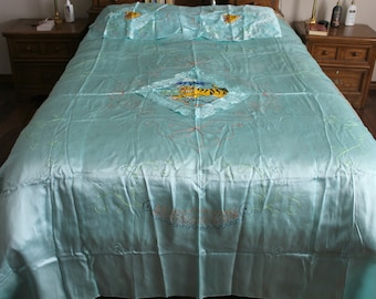 Vintage Tiger Embroidered Turquoise Bedspread and Pillow Shams, 1950s Korean, Oriental, Asian