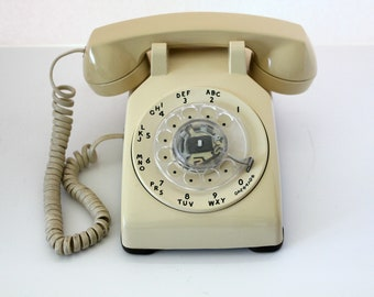 Vintage Western Electric Rotary Telephone, Beige Tan Bell System Corded Rotary Dial Phone