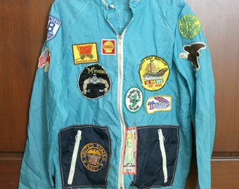 1970s Vietnam Vet CBer CB Ham Radio Patches on Jacket, Tonkin Gulf Yacht Club