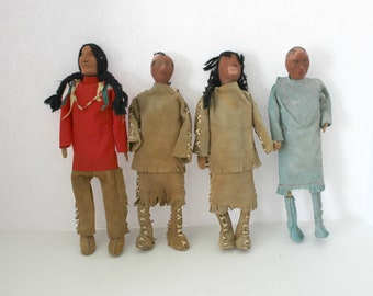 "4 Vintage Handmade Clay Face Dolls, Native American, Leather Clothing, OOAK 12"" Folk Art Dolls"