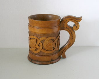 Vintage Hand Carved Wood Mug, Wooden Handled Cup, 1930s Folk Art