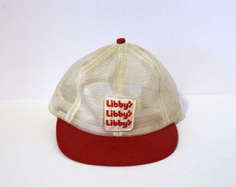 Vintage Libby's Mesh Trucker Cap Hat, Adjustable Snap Back, Red White Patch
