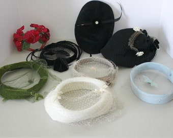 1930s Lot of 8 Women's Vintage Hats, Hair Accessory, Pillbox, Feathers, Veiled, Flowers,