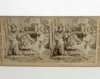 Antique Dancing Girls In Harem Stereoview Card, Underwood Stereograph