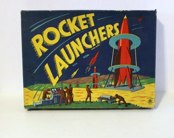 Vintage Rocket Launchers Game, American Toys Tin Target Space Dart Gun Missing