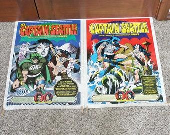 Original Lot 2 Captain Seattle Comic Posters, Vintage Sandoval #1 Signed Ltd Edition 1979, #2 1980