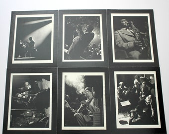 1991 Jazz Prints Herman Leonard Vintage Lot of 6, Duke Ellington, Ella Fitzgerald, Charlie Parker, Dexter Gordon