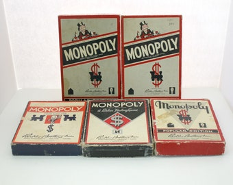Lot of 5 Vintage Monopoly Games, Parker Brothers