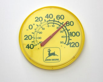 John Deere Wall Mount Thermometer, Vintage Large Plastic 1980s Tractor Advertising, Yellow Green