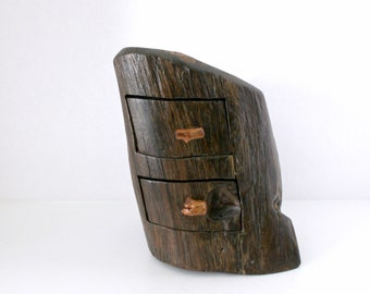 Unusual Wood Folk Art Carved Tree Trunk Log Jewelry Box, Vintage Wooden Carving  Rustic Trinket Box