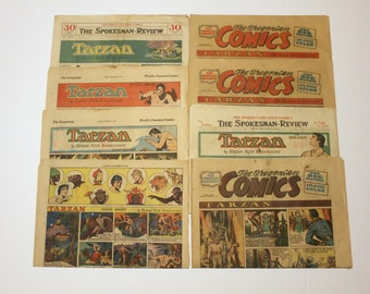 Lot 8 Tarzan Color Comic Strips 1930s 1940s, Edgar Rice Burroughs