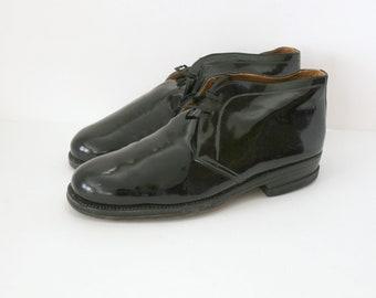 Black Patent Mens Dress Shoes, 1960s Vintage Leather Oxfords Size 43 EU, 9 US