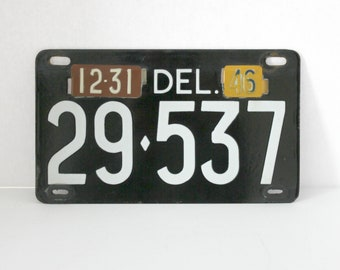 1946 Delaware License Plate, Vintage Auto Car Part