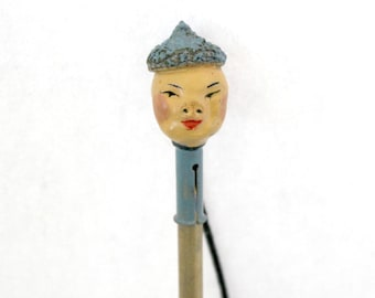 Vintage Japanese Pencil Topper, Antique Composition Asian Oriental Boy Man with Fringe Tassel Bookmark