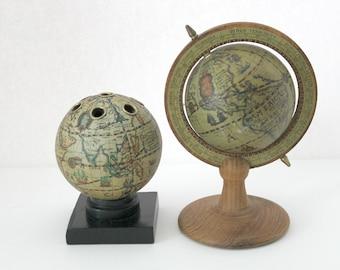 2 Old World Globes, Desk Top, Pencil Holder, 1970s Vintage Office