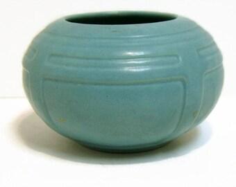 Vintage Roseville Tourmaline Art Deco Matte Blue Vase Bowl w/ Sticker Antique Pottery