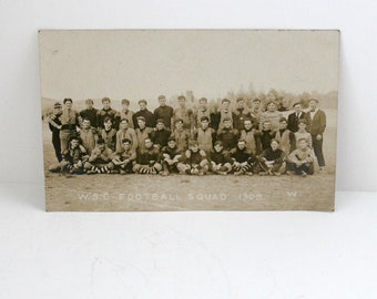 Antique RPPC WSC Football Squad Team, Washington State College, Pullman WA