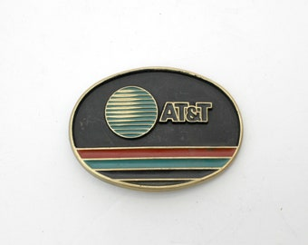 AT&T Brass Belt Buckle, Vintage Telephone Phone Jadco Embossed 1980s Buckle