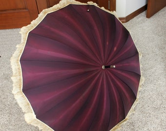 Antique Parasol Umbrella Plum Purple with Lace Trim 1900 - 1920s