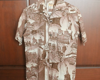 1950s New York City Picture Print Shirt by Sterling, Sanforized, Vintage Size Small