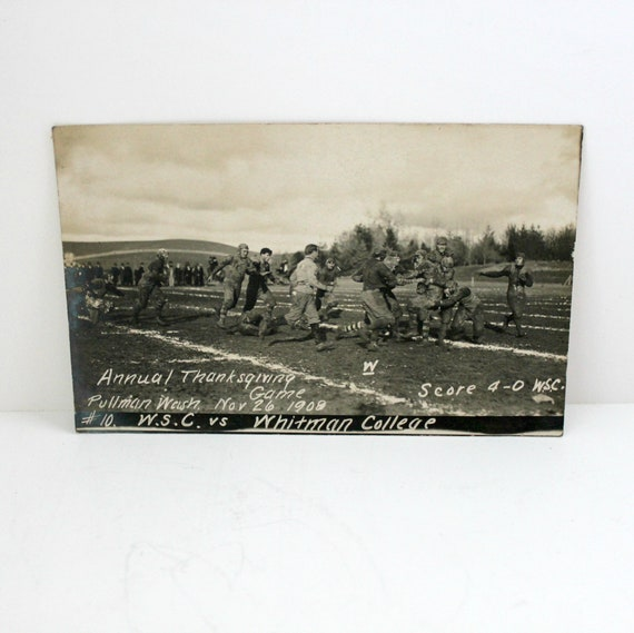 Antique RPPC College Football, WSC vs Whitman Pullman WA Thanksgiving Nov 26, 1908