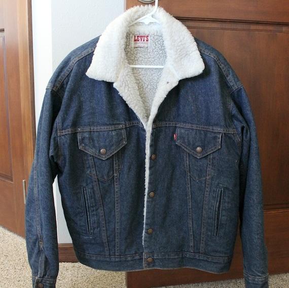 Vintage Levi's Trucker Denim Jacket, Sherpa Lined, Levi Acid Wash, Mens Size Medium