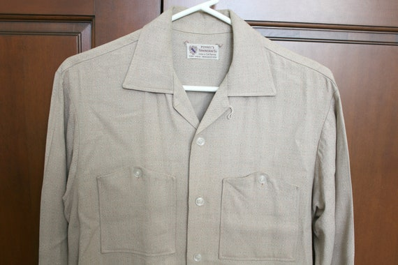 Vintage 50s Penny's Towncraft Mens Shirt Beige Gabardine Rockabilly Button Down